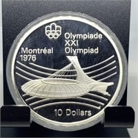1976 OLYMPIC LARGE $10 SILVER PROOF COIN
