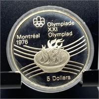 1976 OLYMPIC CANADIAN SILVER $5 PROOF COIN