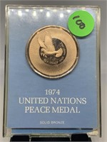 1974 BRONZE UNITED NATIONS PEACE MEDAL