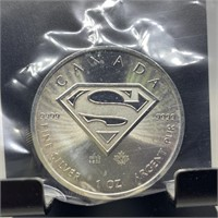 1OZ SILVER BULLION SUPERMAN CANADIAN MAPLE LEAF