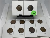LOT OF 10 CARDBOARDED WHEAT PENNY COINS