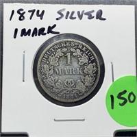 1874 SILVER 1 MARK COIN
