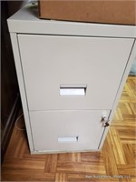 2 Drawer Filing Cabinet W/ Office Supplies & Key