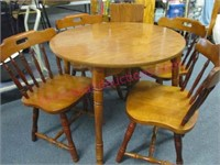 """smaller dinette table (36"""" diam) & 4 chairs & leaf"""