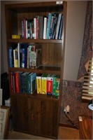 Bookcase and Assorted Books