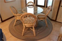 Rattan Round Glass Top Dining Table & 5 Chairs