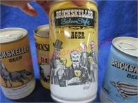 """4 """"brickskeller"""" beer can set"""