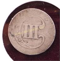 1852 THREE CENT SILVER NICKEL