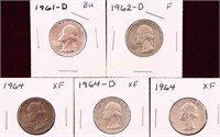 5 SILVER QUARTERS 1961-D/62-D/64/64/64-D