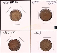 1862/63/64/74 INDIAN HEAD CENTS