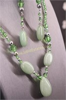 GREEN STONE NECKLACE & EARRING SET