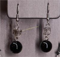 BLACK STONE NECKLACE & EARRING SET