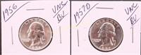 1956/57-D BU WASHINGTON SILVER QUARTERS