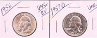 1956/57-D UNC SILVER WASHINGTON QUARTERS