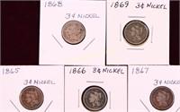 1865/66/67/68/69 THREE CENT NICKELS