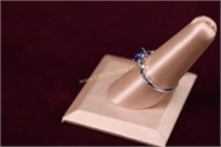 BLUE STONE STERLING SILVER RING SZ.8