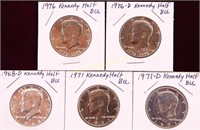 5 KENNEDY HALF DOLLARS AU TO BU 1968-D/71/71-D/76/
