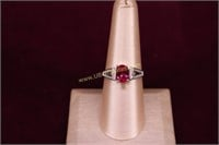 RED STONE STERLING SILVER RING SZ.8