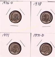 14 ROOSEVELT BU DIMES 1968/68-D/71/71-D/75/75-D/76