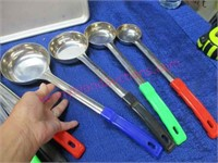 Lot: 14 stainless scoops -2 sm. trays -SS bin &lid