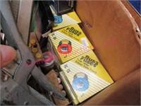 box of elec. parts -new hammer handle -misc