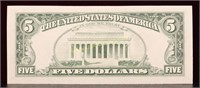 UNC 1981 GREEN SEAL FIVE DOLLAR BILL