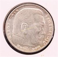 1935-G GERMANY SILVER 5 MARK