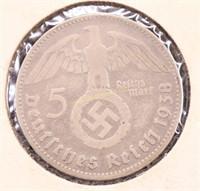 1938-S NAZI GERMANY SILVER 5 REICH MARK