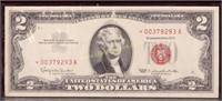1963 STAR NOTE RED SEAL TWO DOLLAR BILL