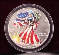 1999 COLORIZED AMERICAN SILVER .999 EAGLE