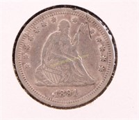 1891 SEATED LIBERTY SILVER QUARTER DOLLAR