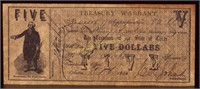 1862 TREASURER OF THE STATE OF TEXAS FIVE DOLLAR