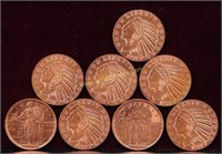8 - 1/2 OUNCE FRACTIONAL COPPER ROUNDS