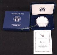 2011 PROOF AMERICAN SILVER .999 EAGLE w COA