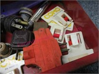 Red-grey tool box with misc tools