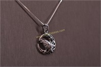 HALF MOON HOWLING WOLF STERLING SILVER NECKLACE