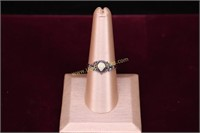 WHITE STONE STERLING SILVER RING SZ.8