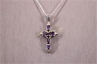 PURPLE STONE STERLING SILVER CROSS NECKLACE