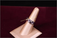 PURPLE & CLEAR STONE STERLING SILVER RING SZ.7