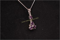 PURPLE STONE STERLING SILVER NECKLACE