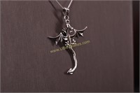 FLYING DRAGON STERLING SILVER NECKLACE
