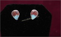 BEAR CLAW TURQUOISE STERLING SILVER EARRINGS