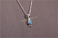 BLUE OPAL STERLING SILVER NECKLACE