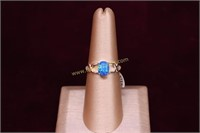 BLUE FIRE OPAL STERLING SILVER RING SZ.7