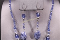 BLUE STONE  NECKLACE & EARRING SET
