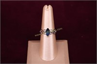 BLUE STONE STERLING SILVER RING SZ.7