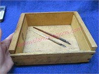(2) Fountain pens in wooden box
