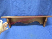 red distressed wall shelf - 24in long
