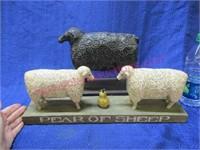 """pear of sheep"" & black sheep figurines"