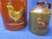 (2) Chicken modern crock jugs
